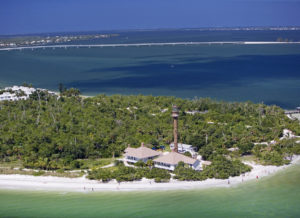 Aerial view of Sanibel Island in Southern Florida.